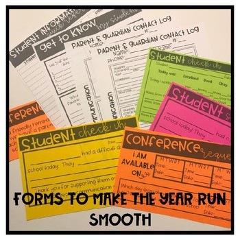 Parent Contact Log/Communication Log Post its & Year long Forms!