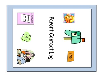 Parent Contact Log Cover and Student Log sheets