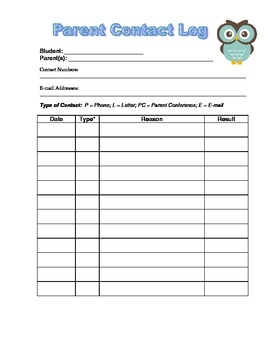 Parent Contact Log - Keep Track of Communication