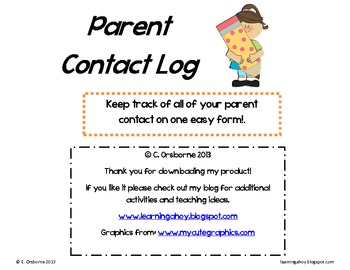 Parent Contact Log Primary