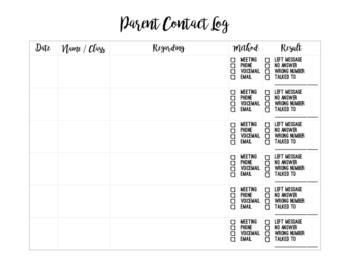 Parent Contact Log Printable