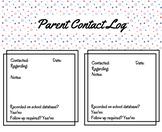 Parent Contact Log - Printable