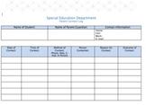 Parent Contact Log - Special Education