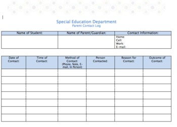 Parent Contact Log - Special Education