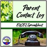 Parent Contact Log - Excel Spreadsheet