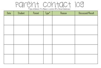 Parent Contact Log Template by Taryn Oakley | Teachers Pay Teachers