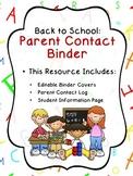 Parent Communication Log & Student Information Binder