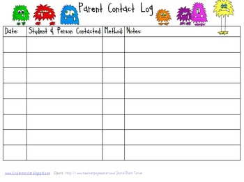 Parent Contact Log and Weekly To-Do List
