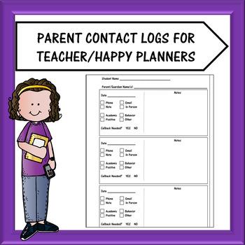 Teacher Planner/Happy Planner - Parent Contact Log