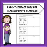Teacher Planner Parent Contact Log Pages
