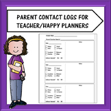 Teacher Planner Parent Contact Log Pages