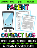Parent Contact Log for Middle School