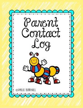 Parent Contact Log for Parent Contact Binder