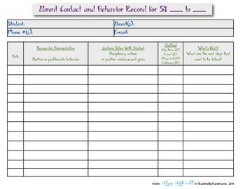 Parent Contact Recording Form FREEBIE