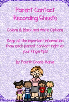 Parent Contact Recording Sheet