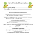 Parent Contact Sheet