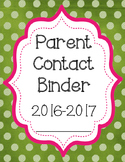 Parent Contact Sheet, Communication Log, Binder Cover, Stu