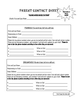 Parent Contact Sheet and Student Information Sheet