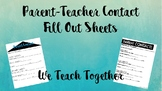 Parent Contact Sheets