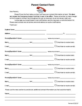 Parent Contact & Student Information Forms (Back to School, Open House)