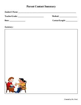 Parent Contact Summary Sheet