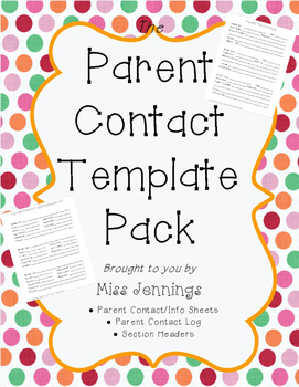 Parent Contact Template Pack