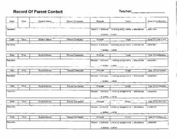 Parent Contact/Tutorial Log