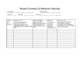 Parent Contact and Behavior Record