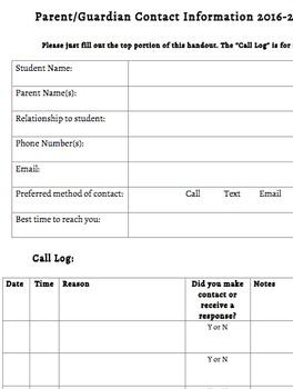 Parent Contact and Call Log