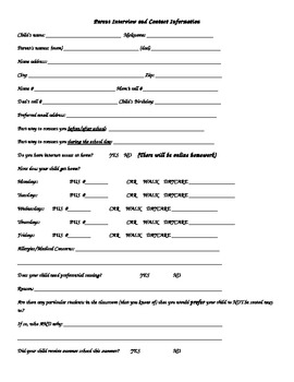 Parent Contact and Interview Form
