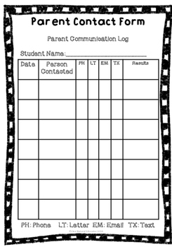 Parent Contact and Student Information