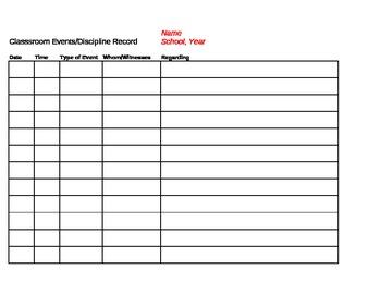 Parent Contact/Communication Log and Discipline/Classroom