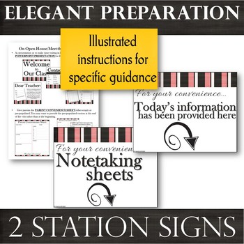 Signs & EDITABLE Note-taking Sheets for Presentations @ Parent Meetings /OH/MTT