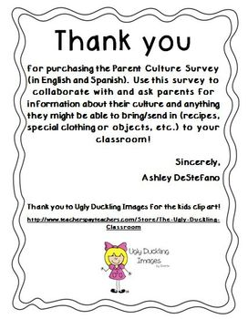 Parent Culture Survey (English and Spanish)