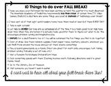 Parent Education: Ideas for Fall Break