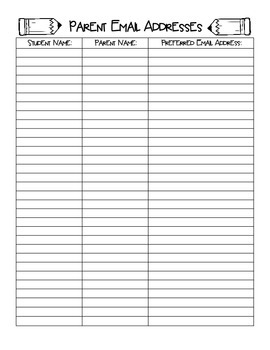Parent Email Address Form FREEBIE