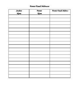 Parent Email Addresses Form