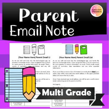Parent Email List Note