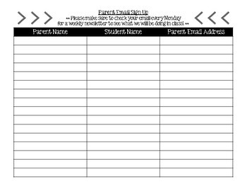 parent email signup sheet by third grade taylormade tpt