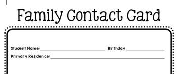 Parent/Family Contact Card