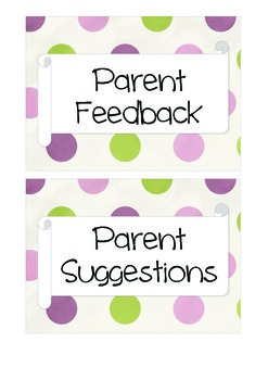 Parent Feedback and Suggestions Labels Pink Green Polka Dot