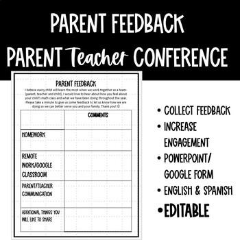 Parent Feedback for Parent Teacher Conferences