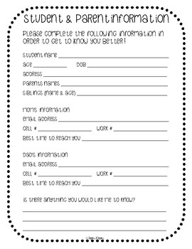 Parent Forms (English and Spanish)