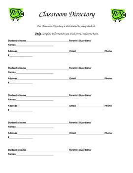 Parent Forms For Meet The Teacher