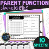 Parent Functions Characteristics: 10 Fill-Ins; Algebra 2