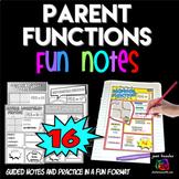 Parent Functions Comic Book Doodle Notes Interactive Notebook Bundle