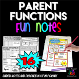 Parent Functions Comic Book Doodle Notes Interactive Notebook Bundle