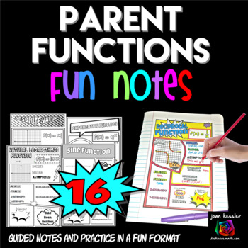 Parent Functions Comic Doodle Notes Interactive Notebook Bundle  PreCalculus