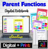Parent Functions Digital Notebook for GOOGLE™ plus Printable Distance Learning