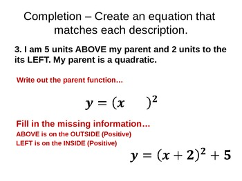 Parent Functions - Graphing Absolute Value and Quadratic Functions